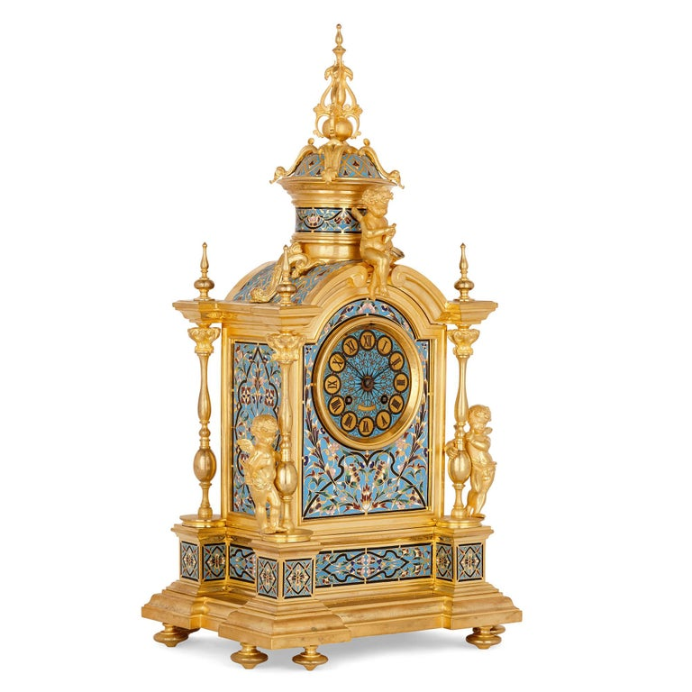 Renaissance style gilt bronze and enamel mantel clock French, late 19th century Measures: Height 53cm, width 28cm, depth 23cm  This exquisite mantel clock is crafted in the idiosyncratic Renaissance Revival style that found its fullest