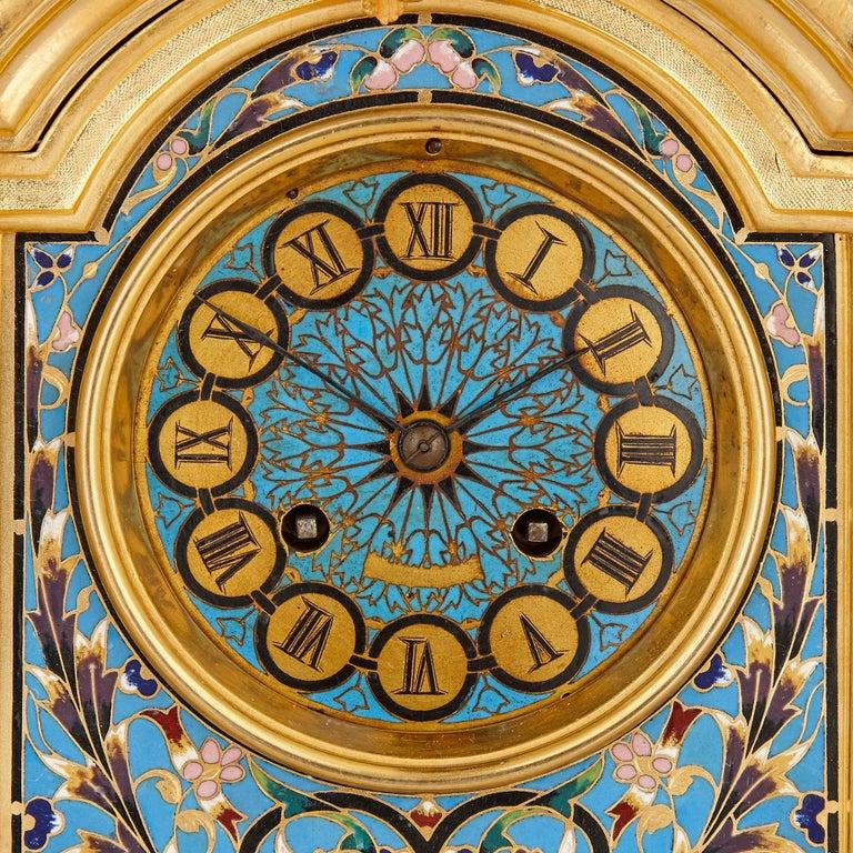 Renaissance Revival Renaissance Style Gilt Bronze and Enamel Mantel Clock For Sale