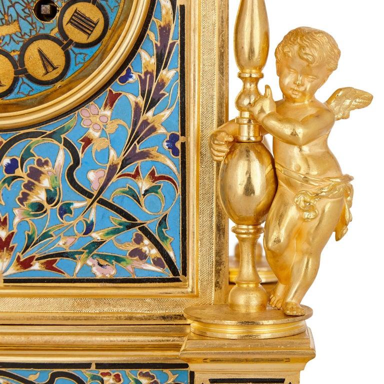 French Renaissance Style Gilt Bronze and Enamel Mantel Clock For Sale