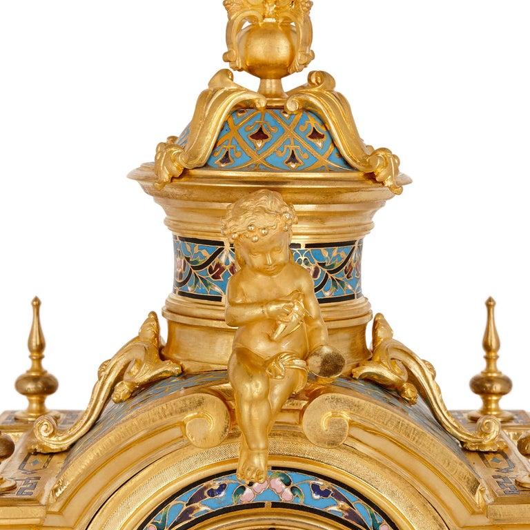 Champlevé Renaissance Style Gilt Bronze and Enamel Mantel Clock For Sale
