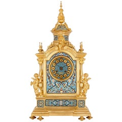 Renaissance Style Gilt Bronze and Enamel Mantel Clock