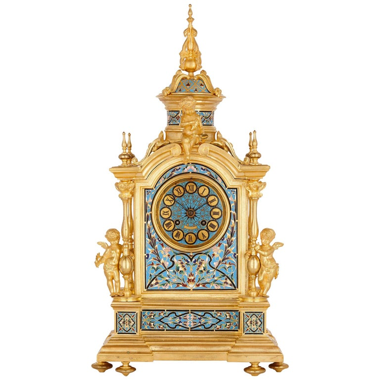 Renaissance Style Gilt Bronze and Enamel Mantel Clock For Sale