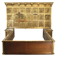 Renaissance Style Giltwood Panel King Size Bed