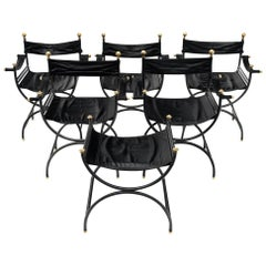 Renaissance Style Leather Armchairs with Stool