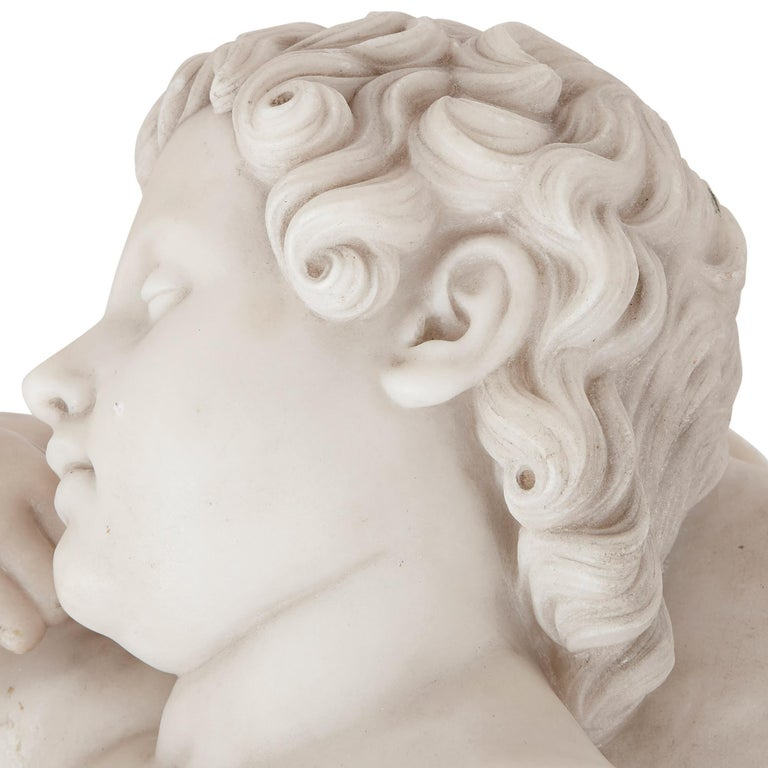 Carved Renaissance Style Marble Figure of Sleeping Child For Sale