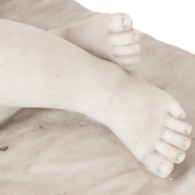Renaissance Style Marble Figure of Sleeping Child In Good Condition For Sale In London, GB