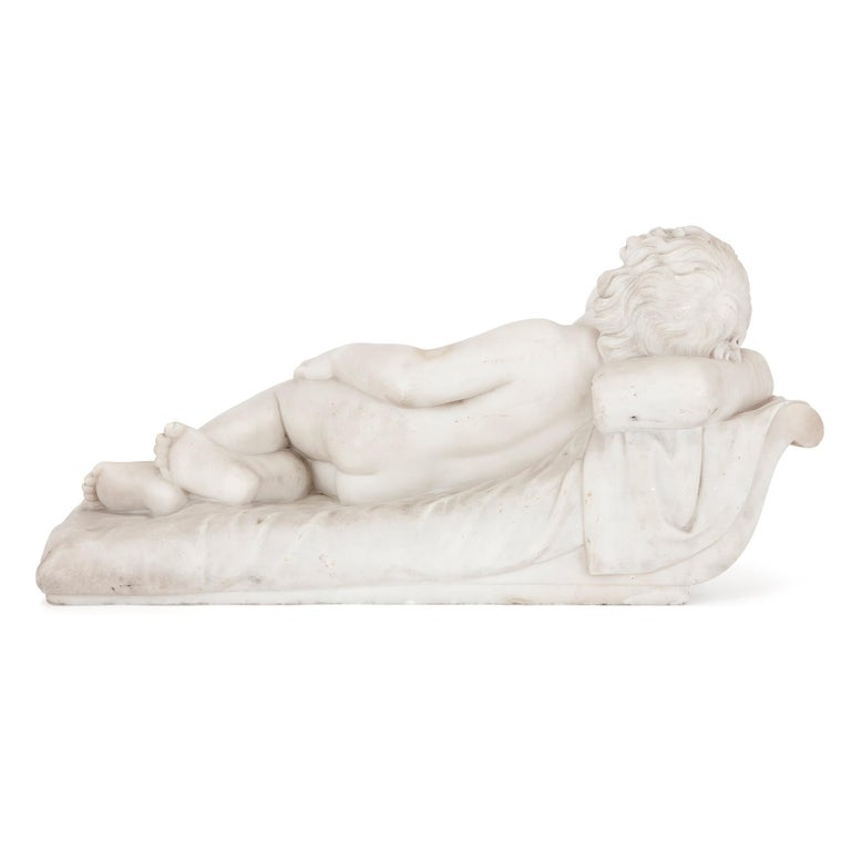 Early 19th Century Renaissance Style Marble Figure of Sleeping Child For Sale