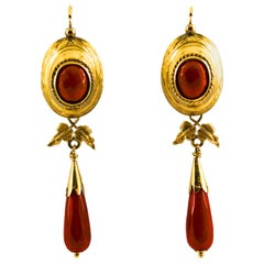 Renaissance Style Mediterranean Red Coral Yellow Gold Lever-Back Earrings