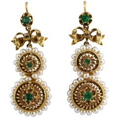 Renaissance Style Micro Pearls 1.00 Carat Emerald Yellow Gold Drop Stud Earrings