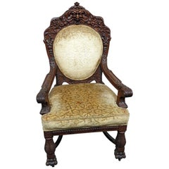 Renaissance Style Oak Throne Chair Attributed to Horner