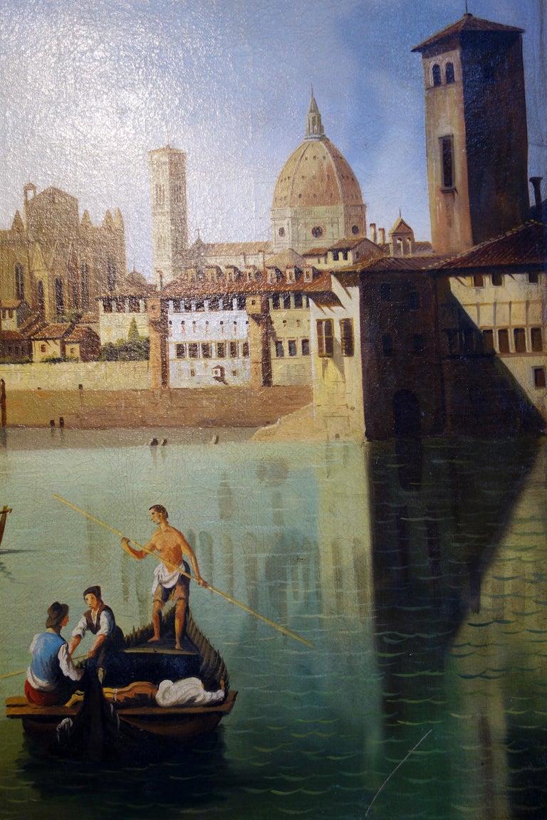 Renaissance Style Painting of Arno River, Ponte Vecchio, Palazzo Vecchio e Duomo For Sale 3