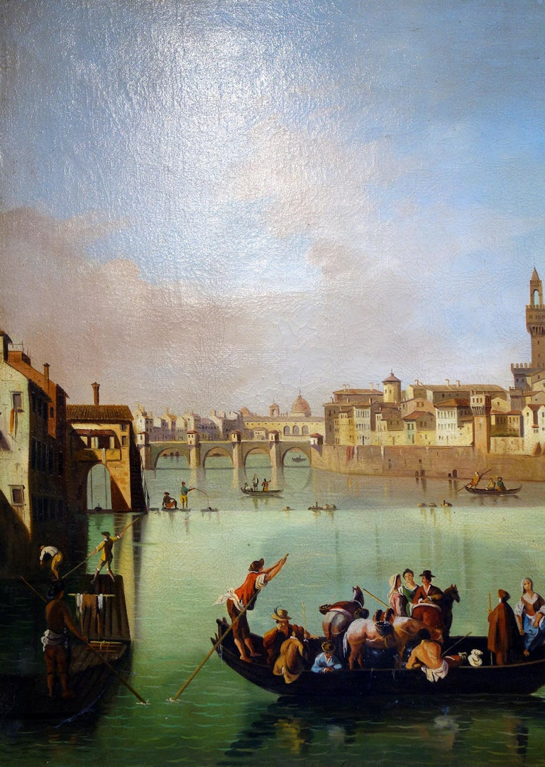 Late 19th century figural tempera painting on canvas. Nice architectural perspective along the Arno River in Florence, with gondolier patrons, the Ponte Vecchio, and Il Duomo rising from the distance. Soft greens and blues enliven the neutral