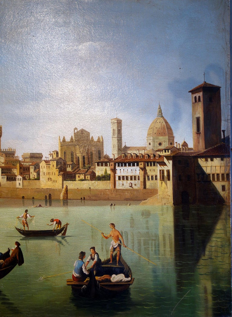 Italian Renaissance Style Painting of Arno River, Ponte Vecchio, Palazzo Vecchio e Duomo For Sale