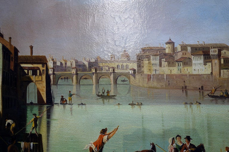 Renaissance Style Painting of Arno River, Ponte Vecchio, Palazzo Vecchio e Duomo For Sale 1