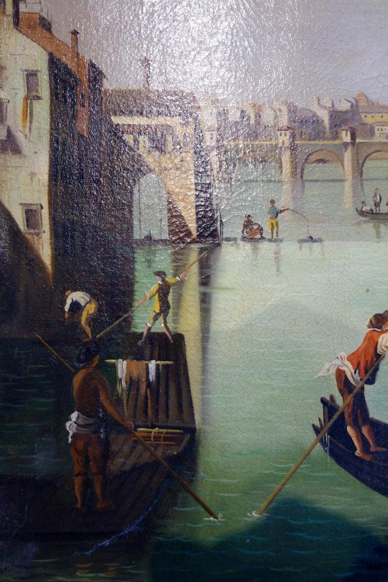 Renaissance Style Painting of Arno River, Ponte Vecchio, Palazzo Vecchio e Duomo For Sale 2