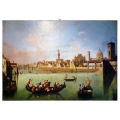 Renaissance Style Painting of Arno River, Ponte Vecchio, Palazzo Vecchio e Duomo