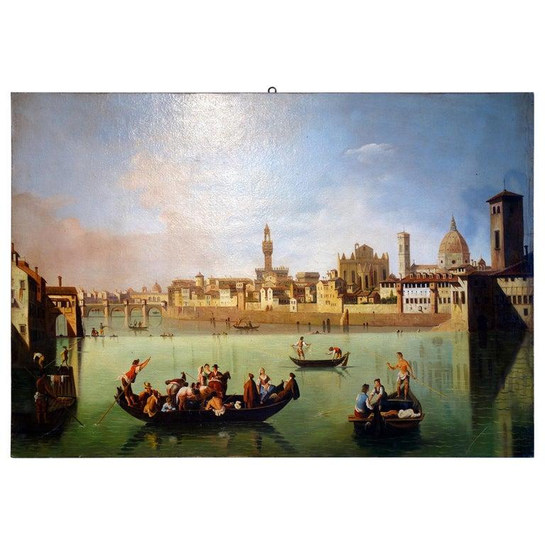 Renaissance Style Painting of Arno River, Ponte Vecchio, Palazzo Vecchio e Duomo For Sale
