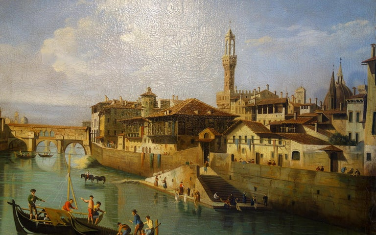 Italian Renaissance Style Painting of Ponte Vecchio Lungo Arno River, Florence For Sale