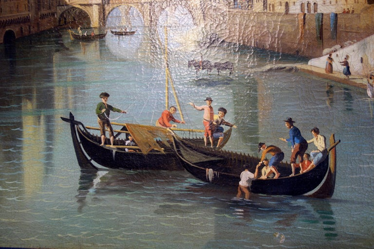 Renaissance Style Painting of Ponte Vecchio Lungo Arno River, Florence In Good Condition For Sale In Encinitas, CA