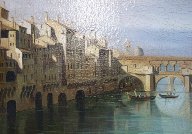 19th Century Renaissance Style Painting of Ponte Vecchio Lungo Arno River, Florence For Sale