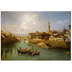 Renaissance Style Painting of Ponte Vecchio Lungo Arno River, Florence