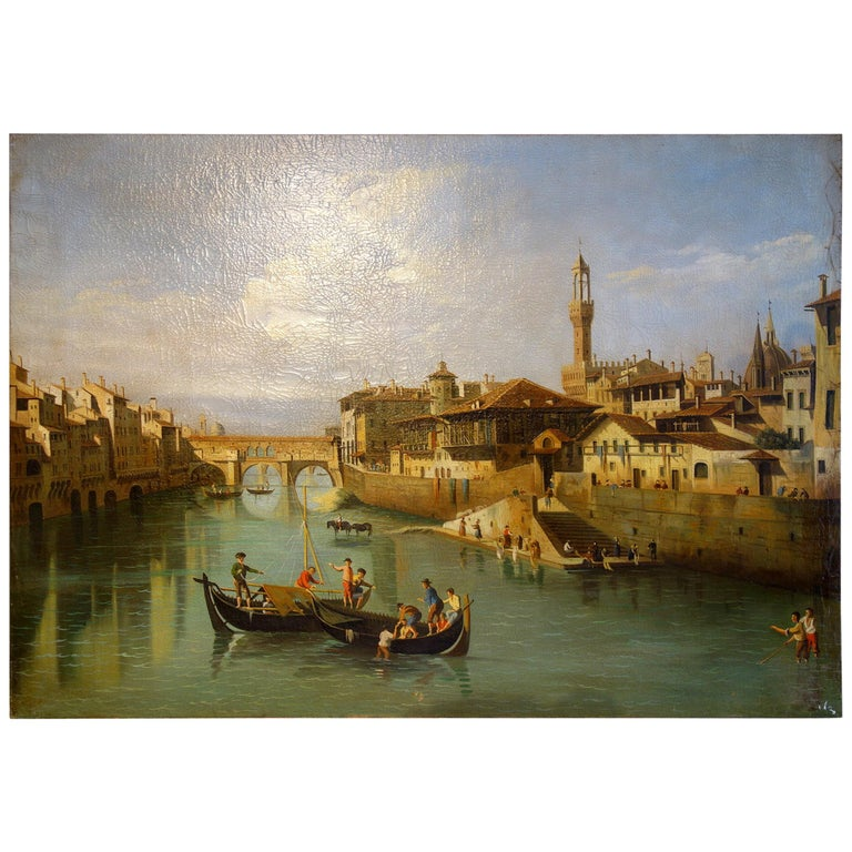 Renaissance Style Painting of Ponte Vecchio Lungo Arno River, Florence For Sale