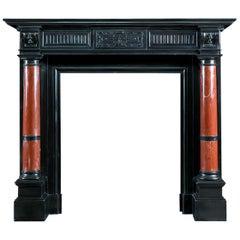 Renaissance Style Polished Belgian Black Marble Fireplace
