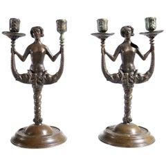 "Renaissance Style ""Siren"" Bronze Candlesticks, 19th Century"