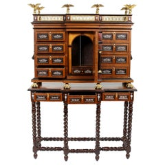 Renaissance Style Spanish Vargueno Cabinet On Stand