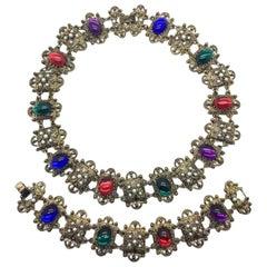Renaissance Style Vintage Jewelled Necklace & Bracelet Set 1980s