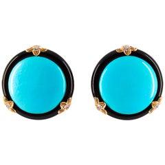 Renaissance Turquoise Onyx 0.20 Carat White Diamond Yellow Gold Clip-On Earrings