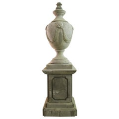 Renaissance Urn Italian Style, Handcrafted Pure Limestone, Including Pedestal