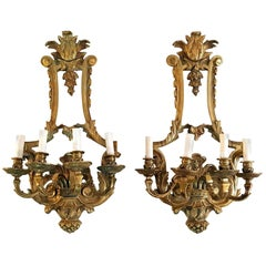 Renaissance Wall Sconces in Bronze Made in Italy