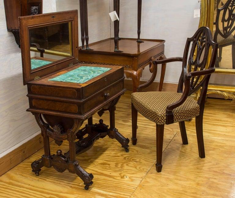 Furniture Sale New York: Renaissance Walnut Dressing Table Labeled George Hess