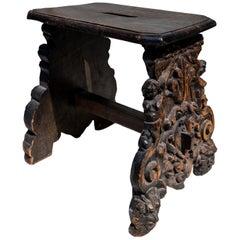Renaissance Wood Carved Stool, circa 17th Century, Italy