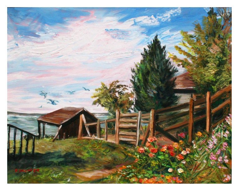 Impressionist Indian Summer in Coupeville, Washington Landscape - Painting by Renate Dollinger