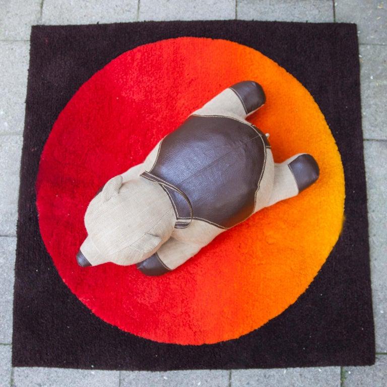 Renate Muller Bear designed in 1968. Made by H. Josef Leven KG, Sonneberg. Brown gunny, brown leather, black button eyes.