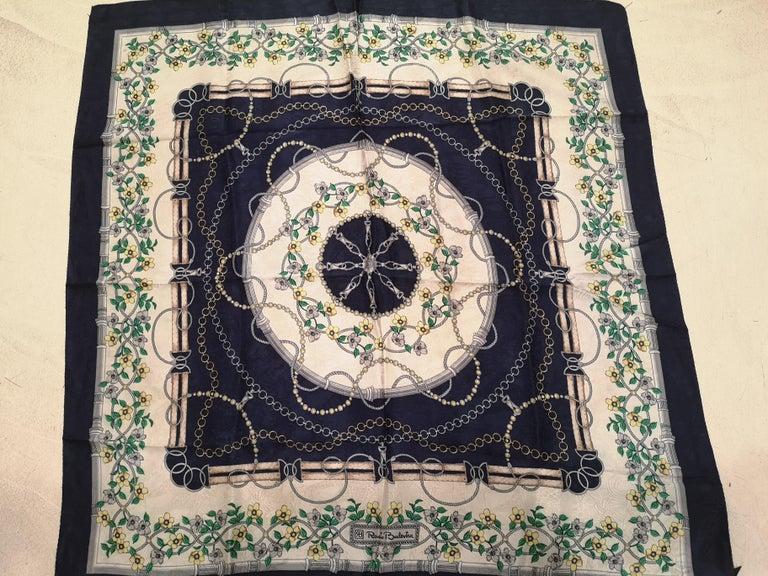 Black Renato Balestra blue floers silk scarf - foulard For Sale