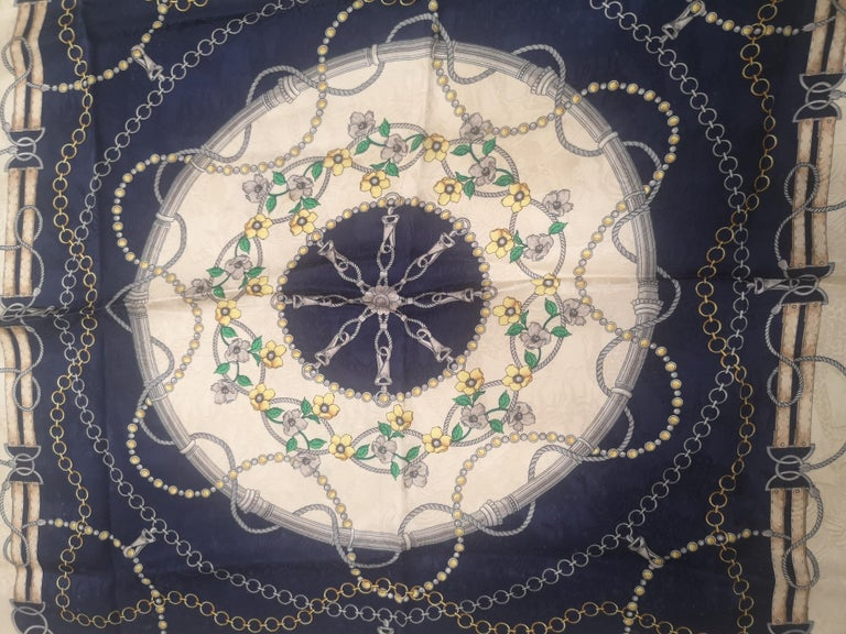 Renato Balestra blue floers silk scarf - foulard In Excellent Condition For Sale In Capri, IT