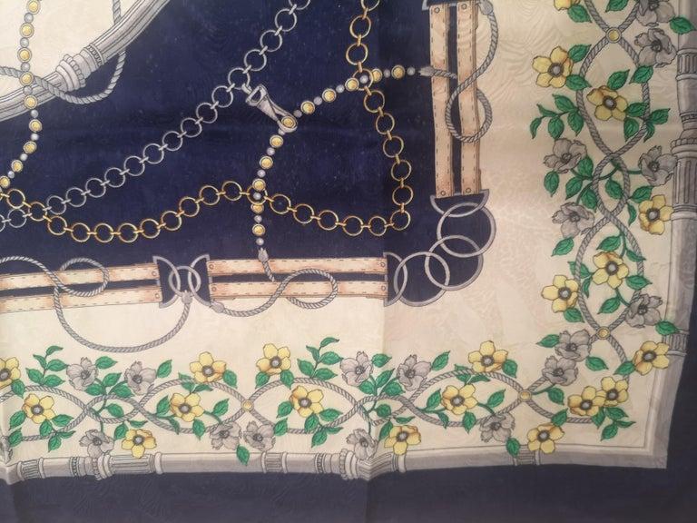 Women's Renato Balestra blue floers silk scarf - foulard For Sale