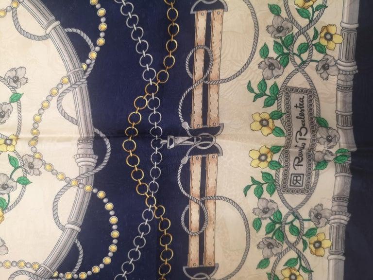 Renato Balestra blue floers silk scarf - foulard For Sale 1
