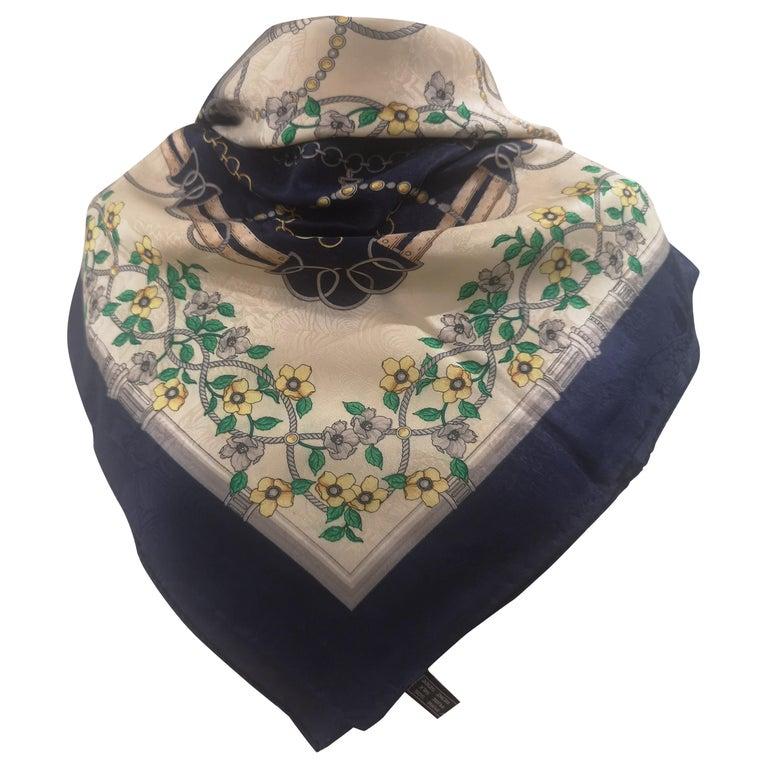 Renato Balestra blue floers silk scarf - foulard For Sale