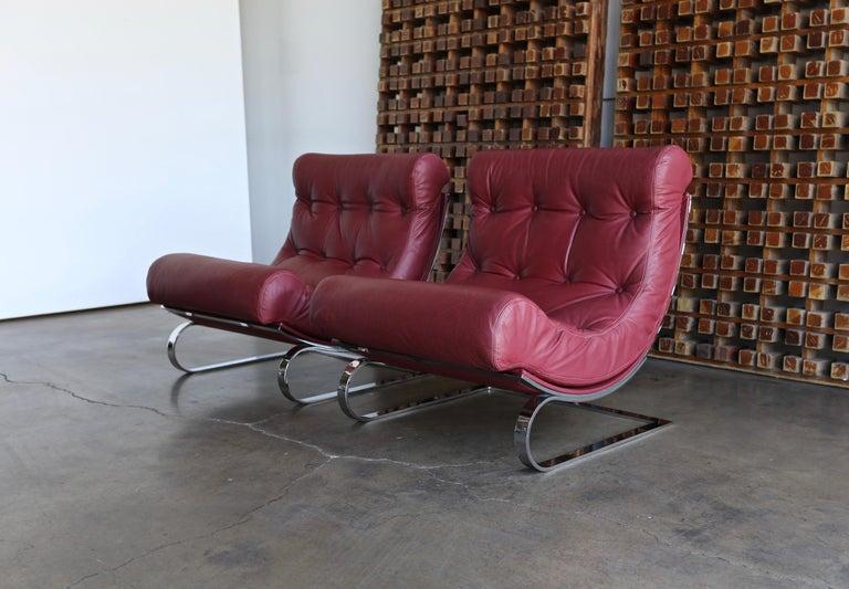 Italian Renato Balestra Leather Lounge Chairs for Cinova Italy, circa 1970 For Sale