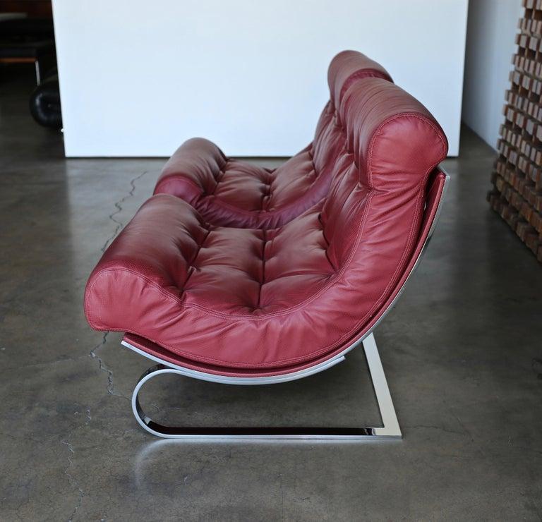 Renato Balestra Leather Lounge Chairs for Cinova Italy, circa 1970 In Good Condition For Sale In Costa Mesa, CA