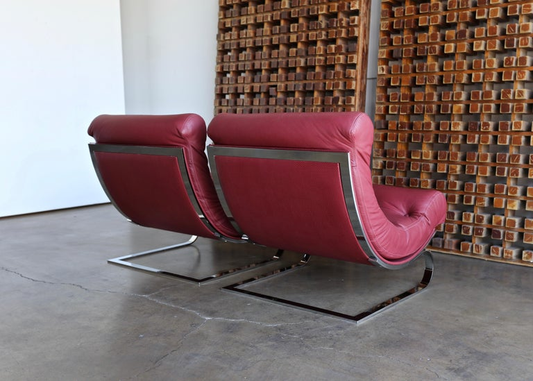 20th Century Renato Balestra Leather Lounge Chairs for Cinova Italy, circa 1970 For Sale