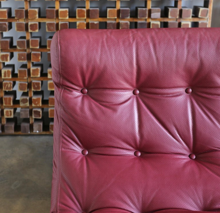 Steel Renato Balestra Leather Lounge Chairs for Cinova Italy, circa 1970 For Sale