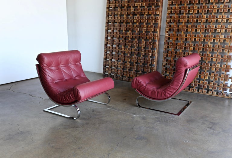 Renato Balestra Leather Lounge Chairs for Cinova Italy, circa 1970 For Sale 1