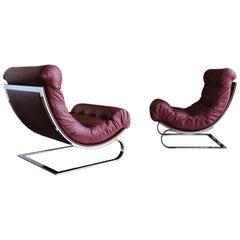 Renato Balestra Leather Lounge Chairs for Cinova Italy, circa 1970