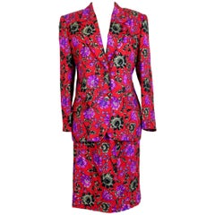 Renato Balestra Red Violet Wool Floral Evening Skirt Suit