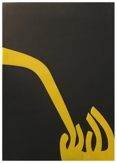 UNTITLED - Renato Barisani Yellow plexiglass on canvas Italian astract painting